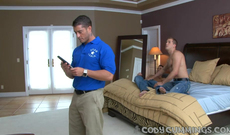 Horny voyeur videos are showing wonderful sex action of two gay fellows, while they have no idea that somebody is watching them.